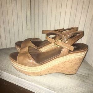 PRADA brown Leather espadrille Wedge. Size 39.5